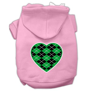 Argyle Heart Green Screen Print Pet Hoodies Light Pink Size Lg (14)